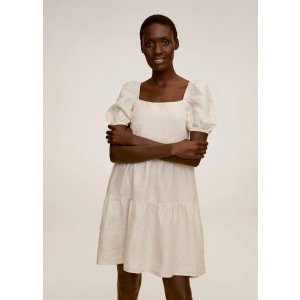 MangoRuffled linen dress - Women | OUTLET USA