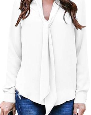 Amazon.com: Yidarton Women's Cuffed Long Sleeve Casual V Neck Chiffon Blouses Tops with Tie: Gateway