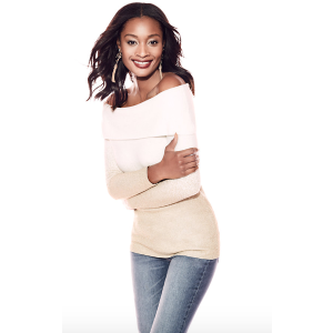 New York & CompanyOmbre Metallic Off-The-Shoulder Sweater - New York & Company