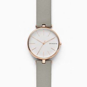 SkagenSignatur T-Bar Gray Leather Watch