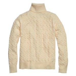 Paisley & Gray Slim Fit Cable Knit Turtleneck Sweater, Vanilla - Men's Sweaters | Men's Wearhouse