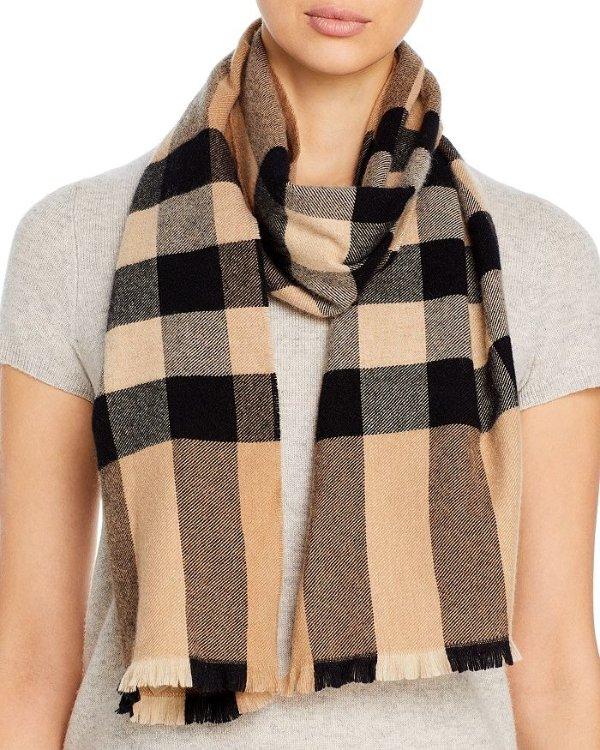 Check Print Wool & Cashmere 围巾