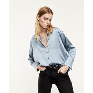The KooplesClassic buttoned blue silk shirt