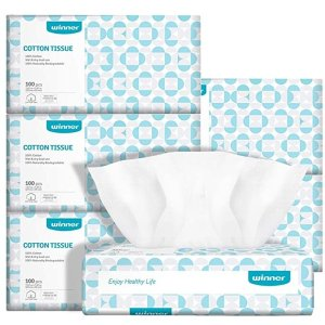 winnerSoft Dry Wipe, Made of Cotton Only, 600 Count Unscented Cotton Tissues for Sensitive Skin