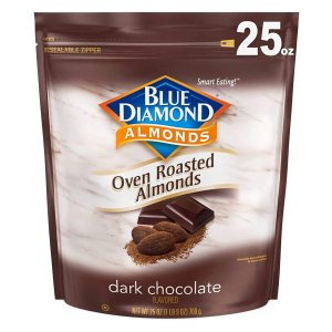 Blue Diamond Almonds Oven Roasted Dark Chocolate Flavored Snack Nuts, 25 Oz