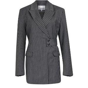 Ganni6折,44%羊毛条纹西装外套