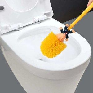 全套仅€3.61 前总统造型搞怪马桶刷 生动的黄色秀发 无死角带底座 刷马桶也有趣