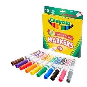 Crayola 马克笔10支$1Office Depot 返校季文具大促