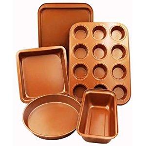 Amazon.com: CopperKitchen Baking Pans - 5 pcs Toxic Free NONSTICK - Organic Environmental Friendly Premium Coating - Durable Quality - Muffin Pan, Loaf Pan, Square Pan, Cookie Sheet and Round Pan - BAKEWARE Set: Kitchen & Dining