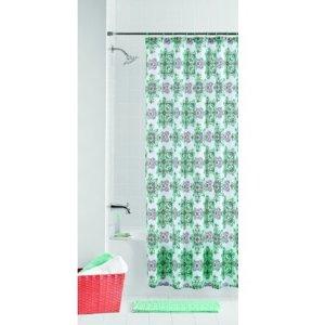 $5.98(原价$19.99)Mainstays 几何简约浴帘+12个挂钩+浴室防滑地垫