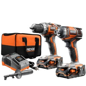 RIDGID 18-Volt Lithium-Ion Cordless Drill/Driver and Impact Driver 2-Tool Combo Kit @ Home Depot