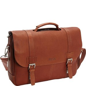 $87Kenneth Cole Reaction Show Business Colombian Leather Flapover Computer Case - Cognac