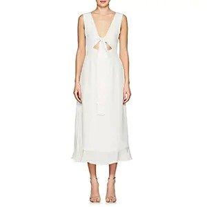 AzeezaLinden Silk Tie-Front Gown Linden Silk Tie-Front Gown
