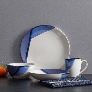 MikasaGourmet Basics Caden Blue 16 Piece Dinnerware Set