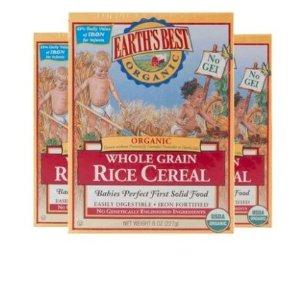 2件7.5折 折合仅¥ 26/盒美国Earth's Best婴儿有机1段糙米营养米粉3盒装