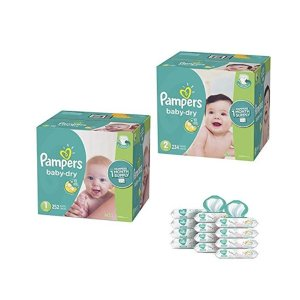$25 offAmazon Pampers Bundle - Baby Dry Disposable Baby Diapers Size 1 + Size 2 + Baby Wipes
