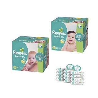 立减$25  $100.04(原价$123.63)Pampers Baby Dry系列尿不湿1号252片+2号234片+宝宝湿巾12袋共864抽