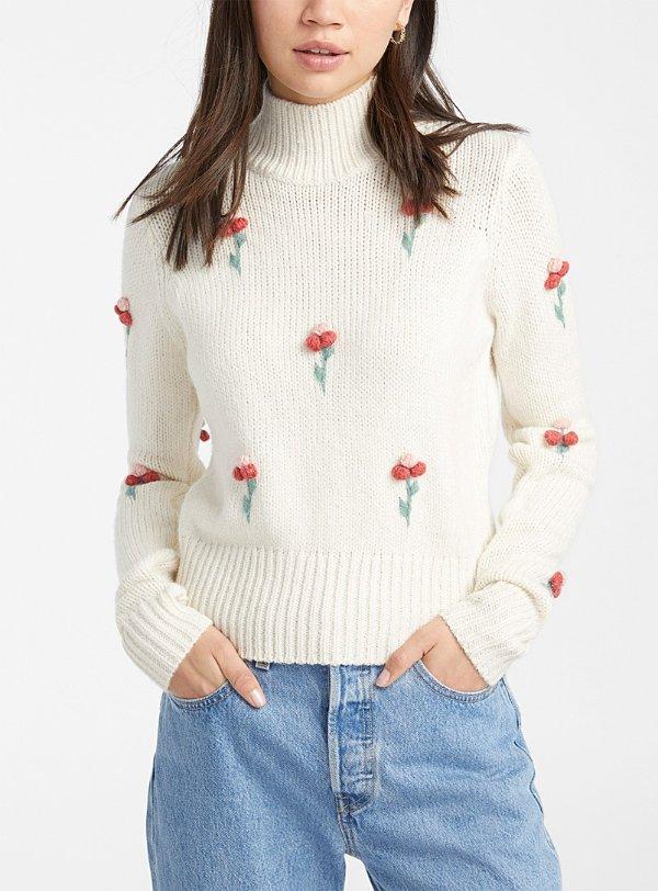 花朵高领毛衣 2色选