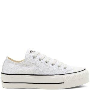 Converse纯白低帮帆布鞋