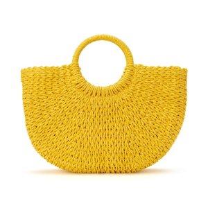 淡黄色编织手提包