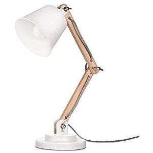 (3) 桌燈:Tomons Natural Wood Desk Lamp, Vintage Table Lamp for Bedside, Workroom, Cabinet, Studio, Cafe, Living Room - White - - Amazon.com