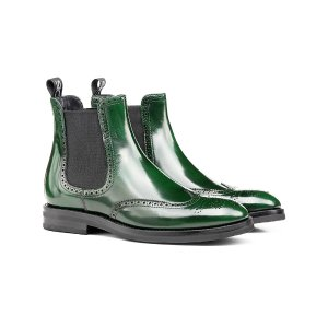 Green polished leather women chelsea wing brogue boot | DIS