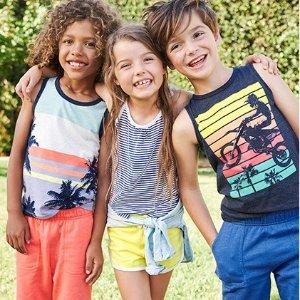 $5起+2倍积分 大童新款参加折扣升级:OshKosh BGosh 儿童T恤、短裤、打底裤等优惠