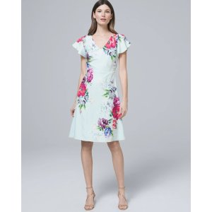 White House Black Market Floral-Print A-Line Dress