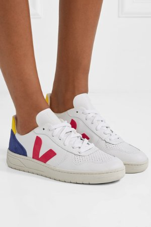 Veja | + NET SUSTAIN V-10 suede and rubber-trimmed leather sneakers | NET-A-PORTER.COM