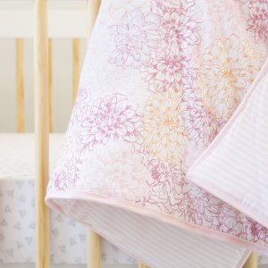 Peach Floral Print Organic Reversible Baby Quilt