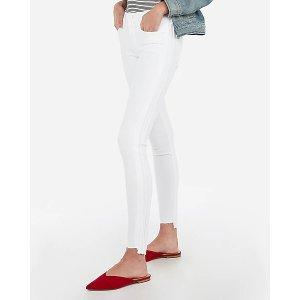 Express第二件$29.9中腰白色紧身牛仔裤