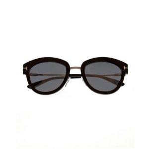 Tom FordShiny Light Ruthenium & Smoke Cateye Sunglasses FT0574-5214C