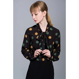 Ecru EmissaryTriple Color Polka Silk Blouse