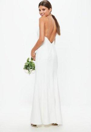 Missguided - Bridal White Diamante Strap Maxi Dress
