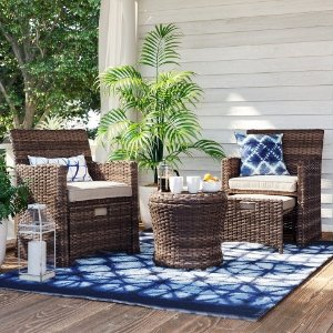 Halsted 5-Piece Wicker Small Space Patio Furniture Set - Threshold™ & Patio Furniture u0026 Rugs Sale @ Target Up to 25% Off + Extra 30% Off ...