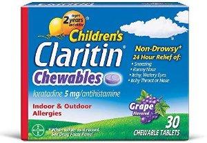 $14.61 (原价$28.57) 过敏季就靠它儿童款 Claritin 24小时不致困、抗过敏咀嚼片 30粒装