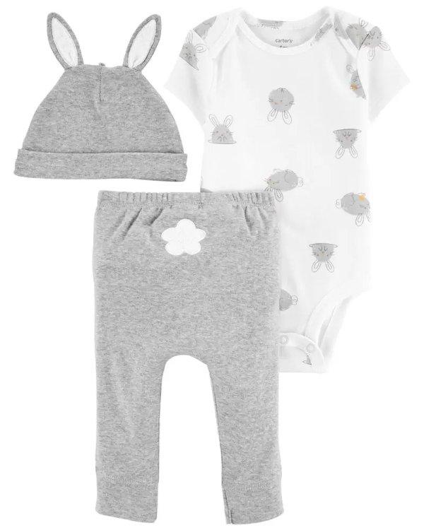 婴儿小兔三件套