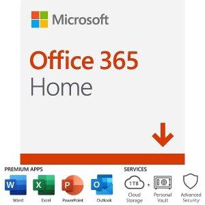 $109.99 送$25礼卡Office 365 Home 1年订阅 6位使用者 每人每月仅1.53
