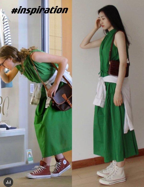 复古绿长裙