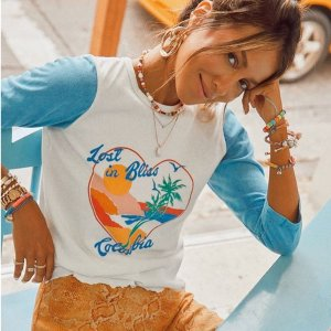 低至3折 $11.91收显瘦纯棉TPacsun 复古慵懒少女风短款上衣系列