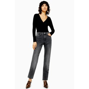 TopshopWashed Black Raw Hem Straight Jeans
