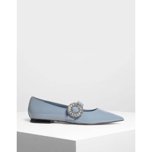 Light Blue Crushed Gem Effect Buckle Leather Flats | CHARLES & KEITH US