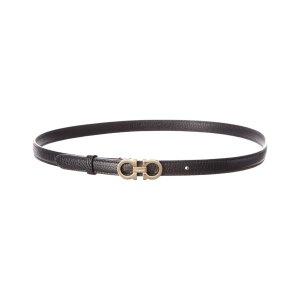 Salvatore FerragamoDouble Gancio Thin Leather Belt | Bluefly.Com