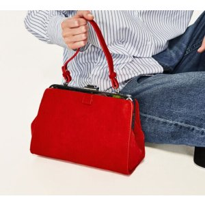 Zara 复古大红色手提包