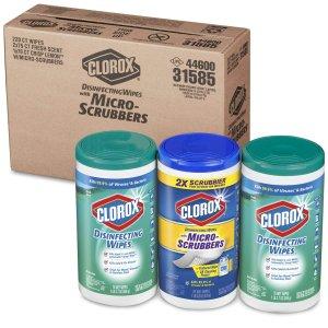 $8.7 包邮Clorox 消毒抗菌+微细刷湿巾超值套装 3个装共220片