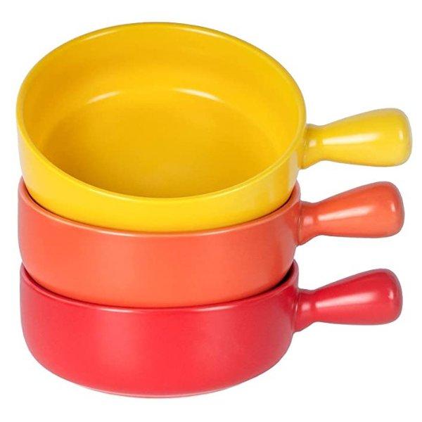 Monamour 21盎司法式陶瓷汤碗3个