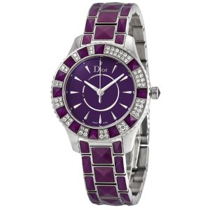 Dior紫色 蓝宝石水晶镶钻女表