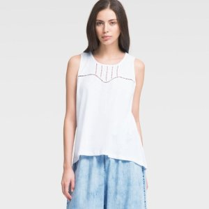 DKNYSCOOP NECK JERSEY TANK WITH CUTOUTS