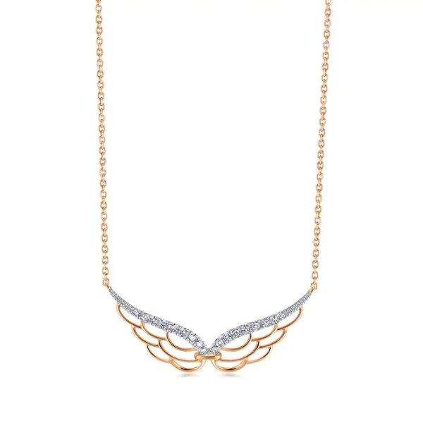 18K White & Red Gold翅膀钻石项链