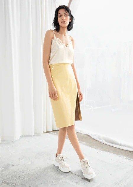 亮皮铅笔裙